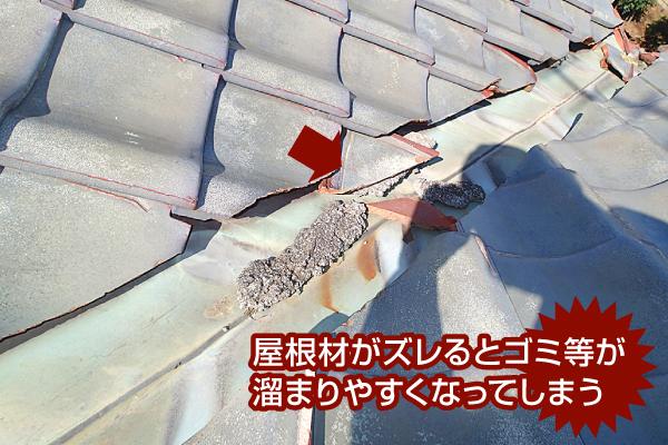 谷板金い屋根材がズレるとゴミ等が溜まりやすくなってしまう