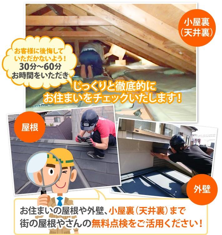 街の屋根やさんの無料点検は屋根や外壁、小屋裏(天井裏)まで行います