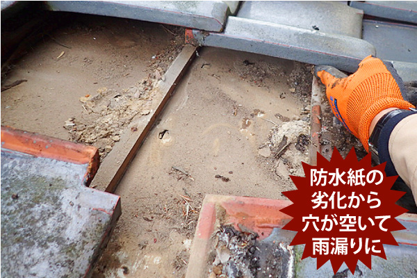 防水紙の劣化から穴が空いて雨漏りに