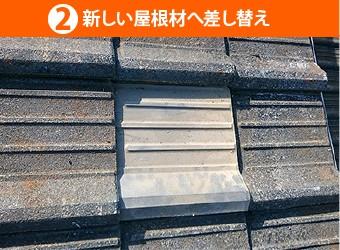 新しい屋根材へ差し替え