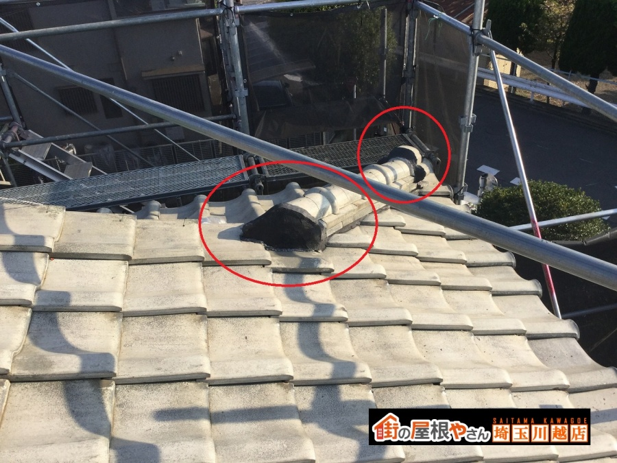 屋根下り棟漆喰工事完工