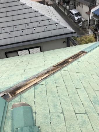 川越市の台風被害で棟板金剥れ改修前