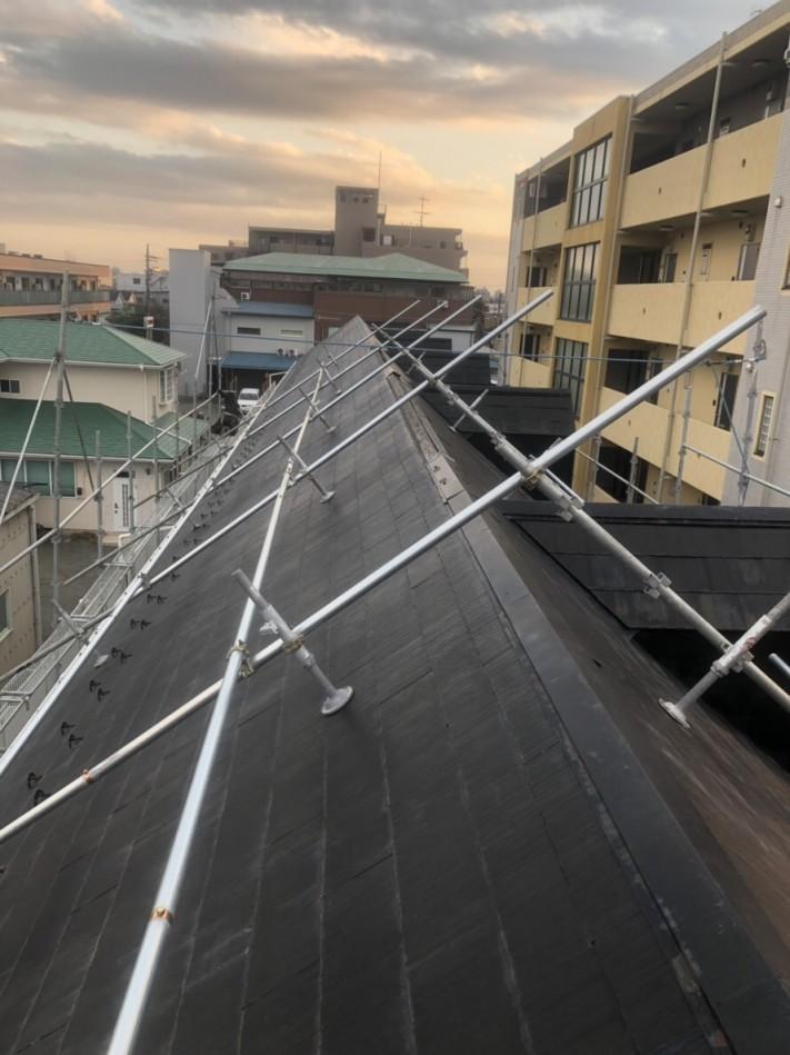 川越市アパート台風被害足場架け棟板金工事