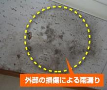 保険対象被害:外部の損傷による雨漏り